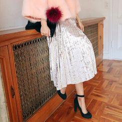 PPGIRL - Velvet Pleated Midi Skirt