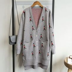 Hidari - Embroidered Long Cardigan