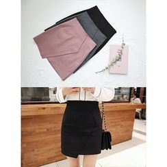 hellopeco - Zip-Side Flap-Front Skirt