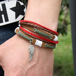 Free Shop - Wing Charm Genuine Leather Bracelet