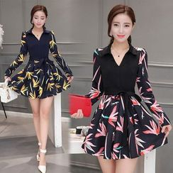 Sienne - Print Long Sleeve A-Line Dress