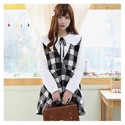 Sechuna - Suspender Check Mini Dress