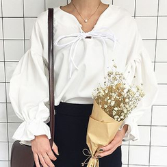 Dute - Lace Up Puff-sleeve Blouse