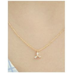 Miss21 Korea - Rhinestone-Pendant Chain Necklace