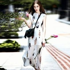 Queen Mulock - Sleeveless Printed Chiffon Dress