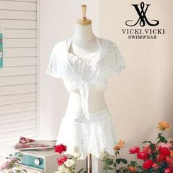 Vicki Vicki - Set: Lace Bikini Set + Tie-Hem Cover-up + Skirt