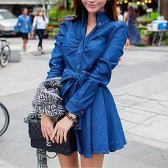 chuu - Tie-Sash Long-Sleeved Denim Shirtdress