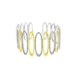 BELEC - White Gold and K Gold Plated 925 Sterling Silver Hollow Bangle with White Cubic Zircon