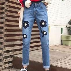 Dute - 花形刺繡牛仔褲