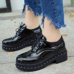Charming Kicks - 粗跟布洛克牛津鞋