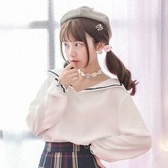 Moriville - Long-Sleeve Sailor Collar Top