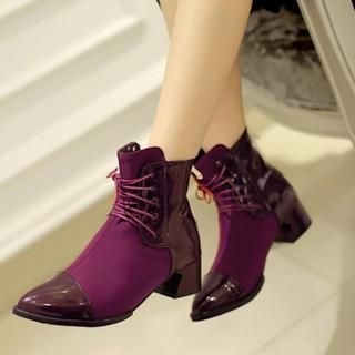 77Queen - Lace-Up Patent Panel Ankle Boots