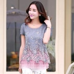 Romantica - Short-Sleeve Layered Lace Panel Top