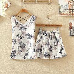 Clementine - Set: Printed Sleeveless Top + Shorts
