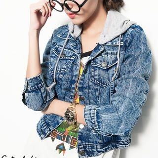 CUTIE FASHION - Detachable Hooded Acid-Washed Denim Jacket