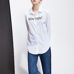 Halona - Long-Sleeve Lettering Shirt