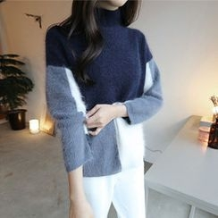 Hello sweety - Color-Block Wool Blend Sweater