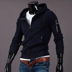Seoul Homme - Zip-Trim Sleeve Zip-Up Hoodie