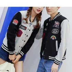 Bay Go Mall - Couple Matching Color Panel Baseball Jacket