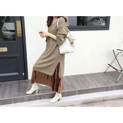 MARSHMALLOW - Mélange Wool Blend Knit Dress