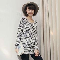 Tokyo Fashion - Flower Print Striped T-Shirt