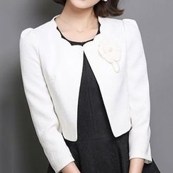 Romantica - Scallop Trim Collar Corsage Cropped Jacket