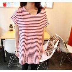 Love Seoul - Short-Sleeve Striped Long T-Shirt
