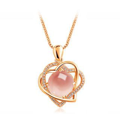 BELEC - 925 Sterling Silver Heart-shaped Pendant with Natural Rose Quartz and Necklace