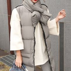 PPGIRL - Zip-Up Padded Vest With Scarf