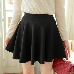 Sakana - Elastic Waist A-Line Skirt
