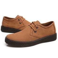 Van Camel - Genuine Leather Lace-Up Shoes