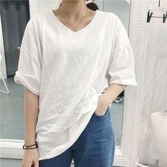 Alfie - V-Neck Distressed Loose-Fit Plain Short Sleeve T-Shirt