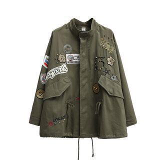 Primula - Batch Embroidered Drawstring Waist Jacket