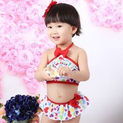Anfory - Kids Bow 2-piece Swimdress