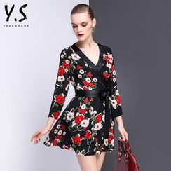 Y:Q - Floral Print V-Neck A-Line Dress