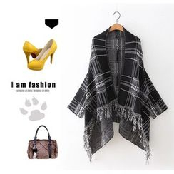 Ainvyi - Plaid Fringed Chunky Cardigan
