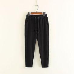 Mushi - Plain Drawstring Sweatpants