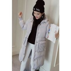 Colorful Shop - Applique Hooded Padded Zip Coat