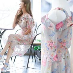 Dowisi - Floral Print Cutout Shoulder Dress
