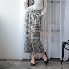 Tokyo Fashion - Houndstooth Wide-Leg Pants