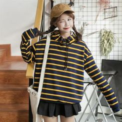 Anlay - Loose-Fit Color-Block Striped Hooded Pullover