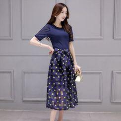 ZCY - 套装: 上衣 + 腰系带印花长裙