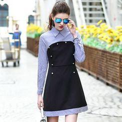 洛圖 - 條紋拼接翻領連衣裙