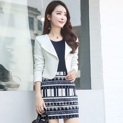 Polpetta - Set: Single-Button Cropped Jacket + Printed Skirt