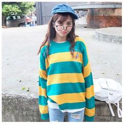 SUYISODA - Embroidered Striped Sweater
