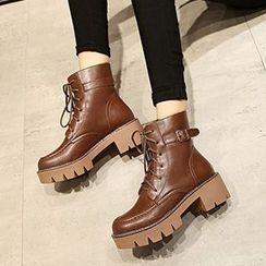 Gizmal Boots - 厚底粗跟系带短靴