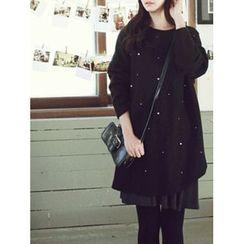LOLOten - Faux-Pearl Embellished Mini Shift Dress