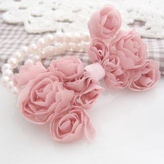 Fit-to-Kill - Pearl chiffon bow bracelet -pink