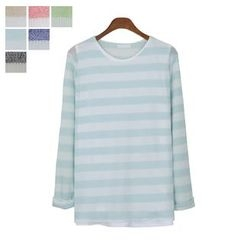 DANGOON - Round-Neck Stripe Open-Knit Top