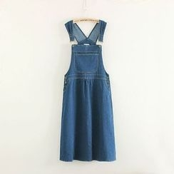 Mushi - Denim Midi Jumper Skirt